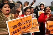 Women Hindu supporters at a protest