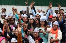 AAP Party Supporters clicked during a rally