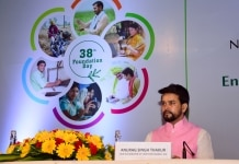 Anurag Thakur during the 38th foundation day of National Bank for Agriculture and Rural Development  NABARD