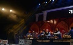 Padamshree Ustad Puran Chand Wadali and Lakhwinder Wadali during their performance at Sahitya Aajtak 2018