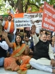 BJP party workers protesting against AAP government