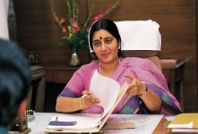 SWARAJ SUSHMA WORKING IN OFFICE DESK