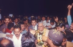 BJP workers welcome Atal Bihari Vajpayee