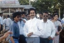 Uddhav Thackeray and Raj Thackeray at a temple