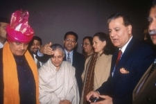 Atal Bihari Vajpayee with other leaders at a meeting