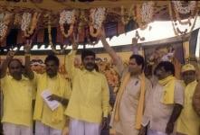 N. Chandrababu Naidu at a rally
