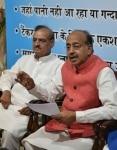 Vijay Goel with Om Prakash Sharma during a press conference