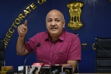 Manish Sisodia at a press conference
