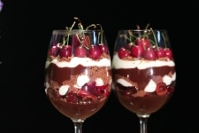 Cherry And Chocolate Cake In A Glass