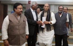 Union Home Minister  Rajnath Singh and CPI Leader  D Raja clicked at a meeting