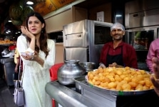 Asha Bhat enjoying panipuri