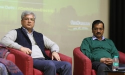 Delhi CM Arvind Kejriwal with Kailash Gehlot on Delhi government's Electric Vehicle Policy