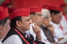 Akhilesh Yadav clicked during the 8th Convocation of Samajhwadi Party