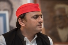 Akhilesh Yadav clicked during a meeting at his residence