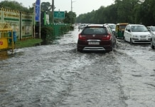 Water logged on streets in New Delhi