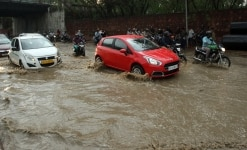 Waterlogged on streets after rain