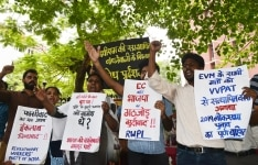 Activists protesing agaist EVMs tampering