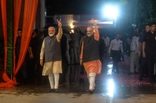 Narendra Modi and Amit Shah celebrate at BJP headquarters after massive victory in country