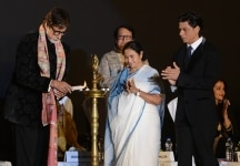 Amitabh Bachchan and Shahrukh Khan and Mamata Banerjee at 20th Kolkata International Film Festival