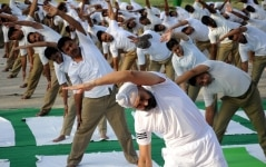 Amritsar  BSF personnel practice yoga asanas  postures  on the Fourth International Yoga Day in Amritsar on June 21  2018  Photo  IANS