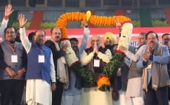 Amit Shah with other political leaders during BJP Booth Sameelan