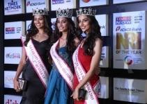 Mumbai   Miss India 2nd RunnerUp 2018 Shreya Rao Kamavarapu  Miss India World 2018 Anukreethy Vas and Miss India 1st RunnerUp 2018 Meenakshi Chaudhary at the NRI of the Year Awards 2018 in Mumbai on July 11  2018 Photo  IANS