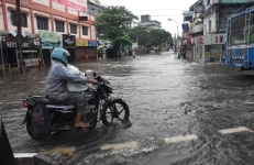 Kochi  A view of flooded streets of Kochi after heavy rains lashed the city on July 16  2018 Heavy rains pounded Kerala on Monday disrupting normal life with more rainfall predicted till Wednesday  Photo  IANS