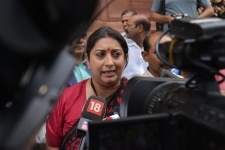 New Delhi  Union Textile Minister Smriti Irani talks to media at Parliament  in New Delhi  on July 20  2018  Photo  IANS