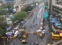 Mumbai  A portion of Lower Parel rail overbridge open to the pedestrians towards eastern side entry  in Mumbai on July 28  2018 Lower Parel rail overbridge was caved in over the Western Railway  WR  tracks following incessant rain  leaving five pers