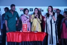 Actors Kajol  Ajay Devgn  Neha Dhupia and others at the trailer launch of upcoming film  Helicopter Eela  in Mumbai  on Aug 5  2018  Photo  IANS