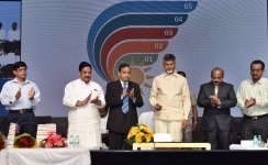 Vijayawada  Andhra Pradesh Chief Minister N Chandrababu Naidu at the launch of Bharat Energy Storage Technology Private Limited  BEST  thermal battery   first of its kind cell   aimed at boosting up renewable sources of energy production  in Vijayaw