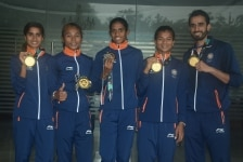 New Delhi  The Indian womens relay team   Hima Das  Raju Poovamma  Saritaben Laxmanbhai Gayakwad and Vismaya Koroth  that won gold in the womens 4X400 metre event at the 18th Asian Games  at a press conference of the Athletics Federation  in New De