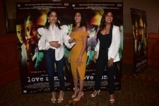Mumbai  Actresses Freida Pinto  Mrunal Thakur and Richa Chadha at the special screening of their upcoming film  Love Sonia  on Sept 12  2018  Photo  IANS