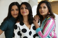 New Delhi  Actresses Mrunal Thakur  Freida Pinto and Richa Chadda during a promotional photoshoot for their upcoming film  Love Sonia   in New Delhi on Sept 13  2018  Photo  Amlan Paliwal IANS