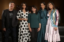 New Delhi  Director Tabrez Noorani with actors Mrunal Thakur  Freida Pinto and Richa Chadda during a promotional photoshoot for their upcoming film  Love Sonia   in New Delhi on Sept 13  2018  Photo  Amlan Paliwal IANS