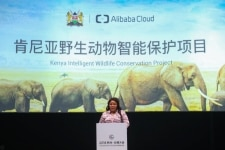 Margaret Mwakima  Principal Secretary of the Kenya      s Ministry of Tourism and Wildlife talking about the collaboration between Kenya and Alibaba Cloud at the companys Cloud Computing Conference in Hangzhou  China