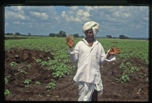 FARMER STANDING IN HIS AGRICULTURE FARM IN LATUR