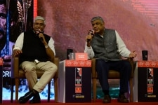 Gajendra S Shekhawat and Rajeev Gowda at a session in India Today Conclave South