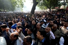 Bank employees during a protest at Jantmantar
