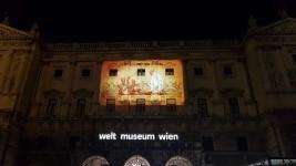Vienna  Spectacular LED display of Mahatma Gandhis message on Gandhi Jayanti   birth anniversary of Mahatma Gandhi  in Vienna  Austria  on Oct 2  2018  Photo  IANS MEA