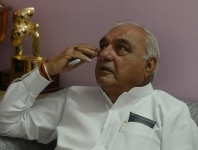 Bhupinder Singh Hooda at his residence