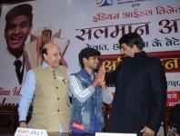 New Delhi  Indian Idol 10 winner Salman Ali greets BJP leader Vijay Jolly and Delhi BJP President Manoj Tiwari during a programme organised to felicitate him in New Delhi  on Jan 10  2019  Photo  IANS
