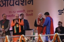 New Delhi  Prime Minister and BJP leader Narendra Modi and party president Amit Shah with party leaders Arun Jaitley  Manoj Tiwari and LK Advani during the party s two day long National Council meeting at Ramlila Maidan in New Delhi  on Jan 11  20