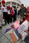 Amritsar  An activist of People for the Ethical Treatment of Animals  PETA  dressed up as an injured bird  spreads awareness about the adverse impact of glass coated manja or manjha   the abrasive string used for flying kites  on the lives of birds a