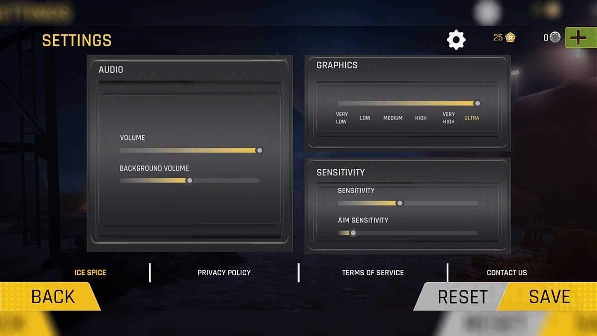 FAUG game settings