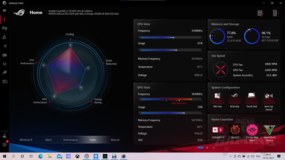 Asus Zephyrus M15 2020 Armoury Crate app