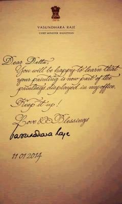 Letter to Delta by Vasundhara Raje