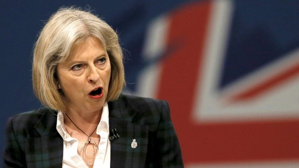 Britain's Home Secretary Theresa May delivers her keynote address on the second day of the Conservative party annual conference in Manchester