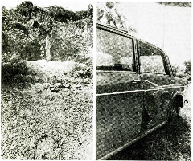 एक पुलिस वाला उस जगह को दिखाता हुआ जहां संजय की लाश मिली. दूसरी फोटो में वो कार जिसमें बच्चों का किडनैप हुआ.