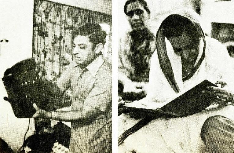 संजय का बैग देखते हुए मदन मदन चोपड़ा और दूसरी फोटो में रोमा चोपड़ा